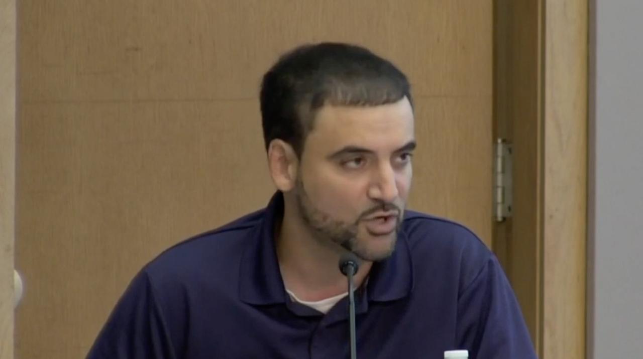 Councilmember Adam Hussain explaining ranked-choice voting