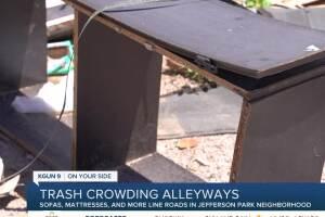 Bulky garbage crowds alleyways in Tucson