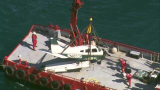plane removed from ocean after crashing off Boynton Beach Inlet, Jan. 26, 2021
