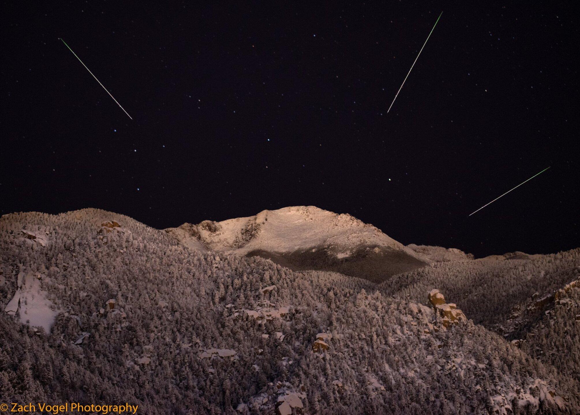 Geminid Meteor Shower over Pikes Peak