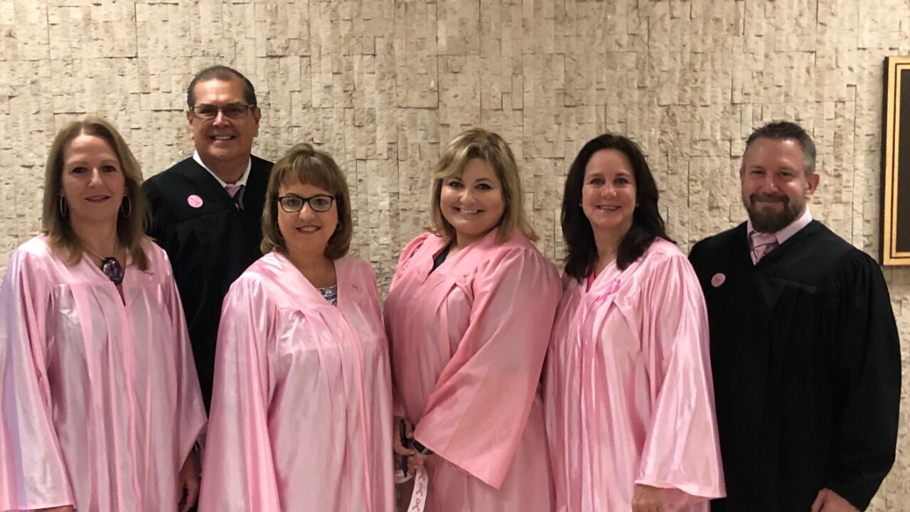 Judges wear pink robes for Breast Cancer Awareness Month