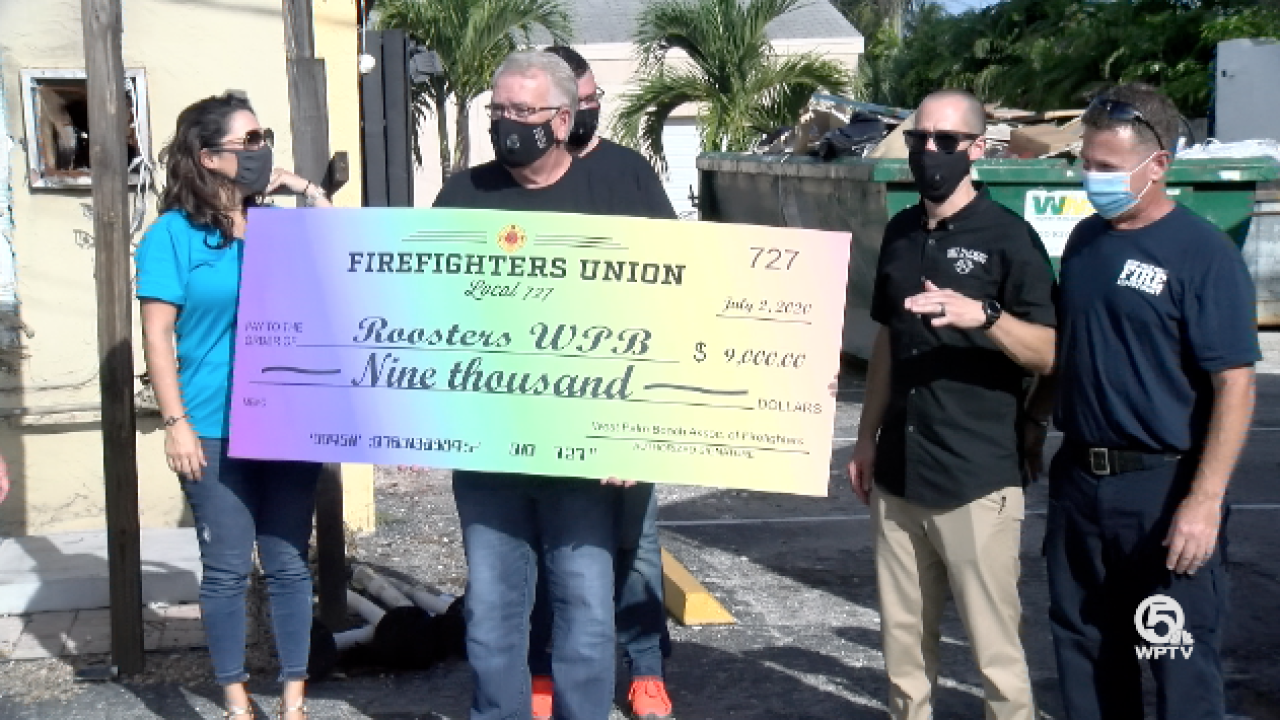West Palm Beach Firefighters donate $9,000 to H.G. Rooster's to help them rebuild their LBGTQ+ bar.