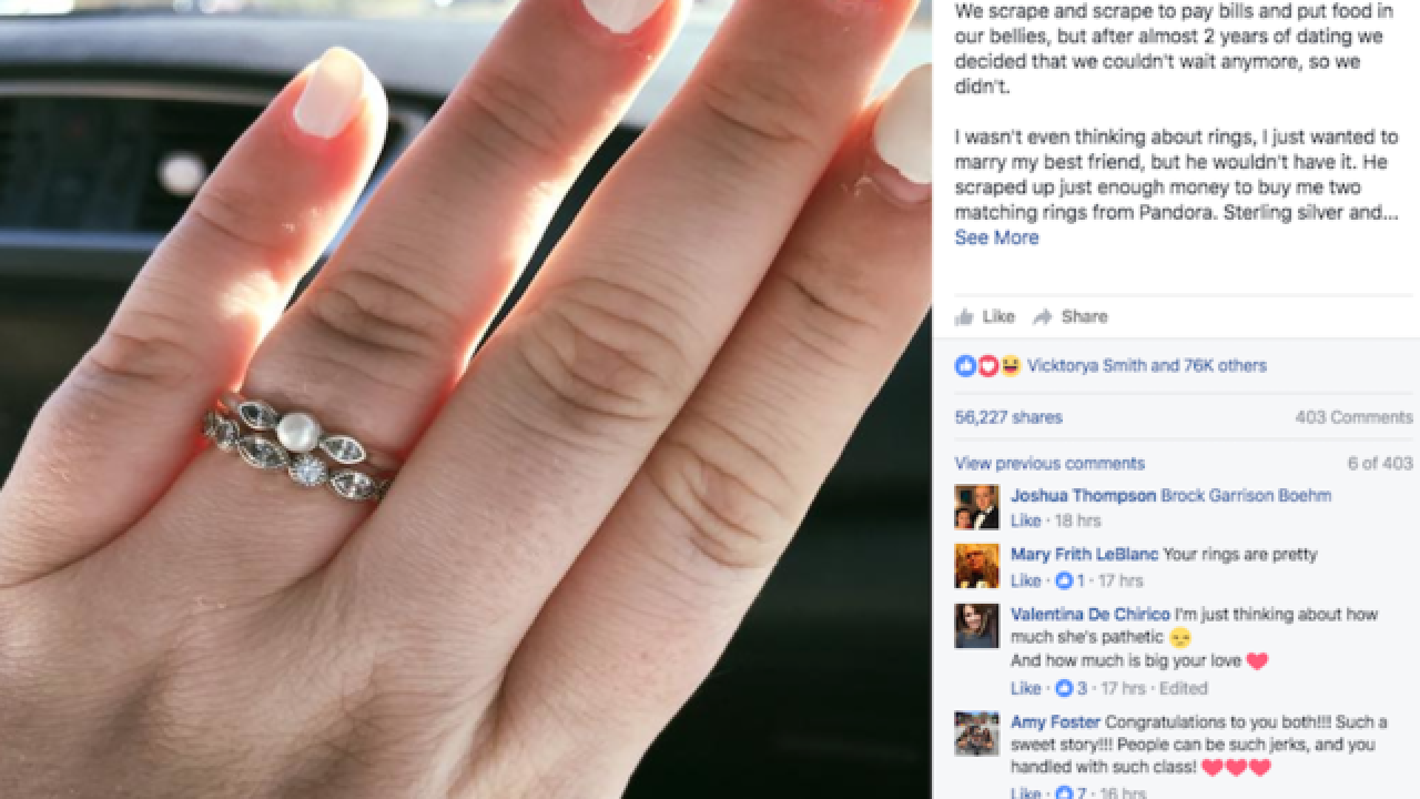 Woman's sweet Facebook post goes viral after engagement ring called 'pathetic' by jewelry clerk