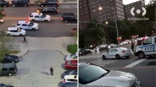 Woman shot in leg when caught in Bronx crossfire