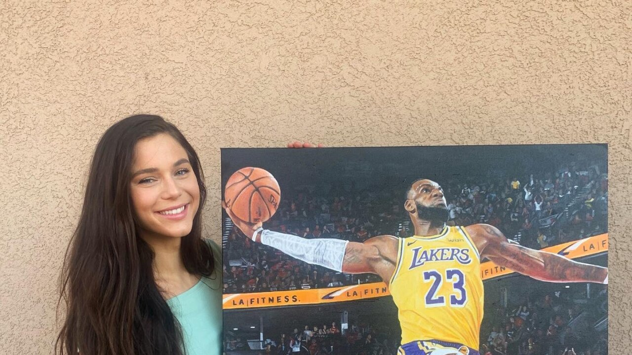 Erin McLoughlin and her painting of LeBron James