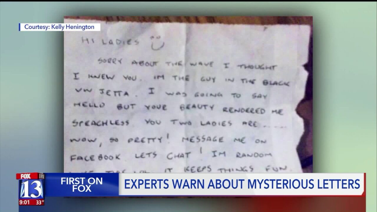 Domestic violence experts warn of mysterious letters as more appear on Utah women's cars