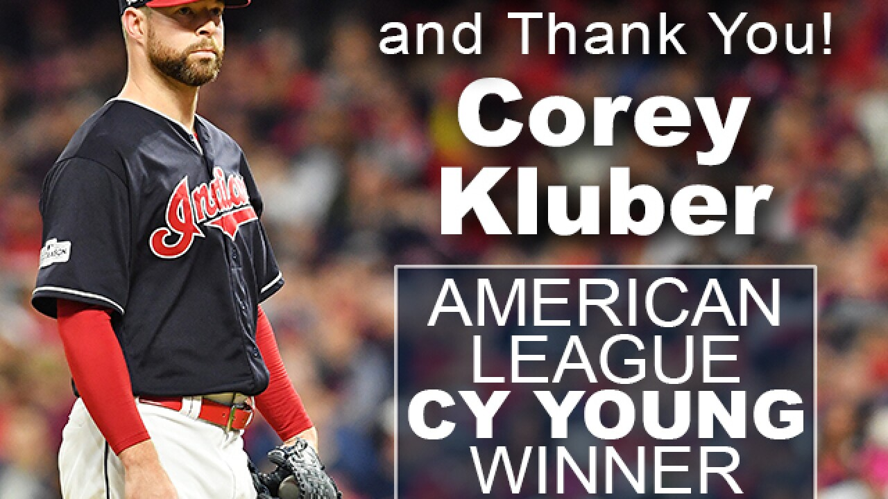 Indians' Corey Kluber named American League Cy Young Award winner
