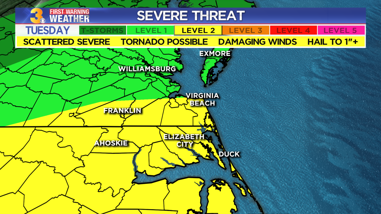 First Warning Forecast: Scattered severe storms possible Tuesday afternoon and evening