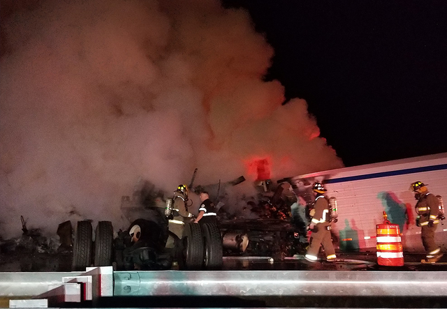 PHOTOS: Semi hauling pumpkins crashes on I-75, driver safe; roadway needs repairs