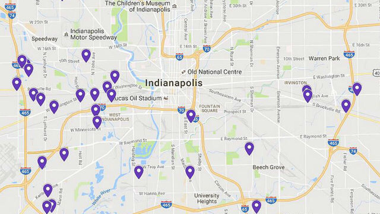 MAP: 'Operation Gl Houses' raid locations on indianapolis trains, indianapolis in us, indianapolis school buses, indianapolis gangs, indianapolis road course, indiana meth lab map, indianapolis city, indianapolis hotels, indianapolis water park, indianapolis suburbs, indianapolis indiana united states, indianapolis news anchors, indianapolis warren central high school, indianapolis townships, indianapolis ghetto, indianapolis skyline panoramic, indianapolis airport terminal, indianapolis mall,