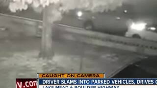 Driver slams into parked vehicles, drives off