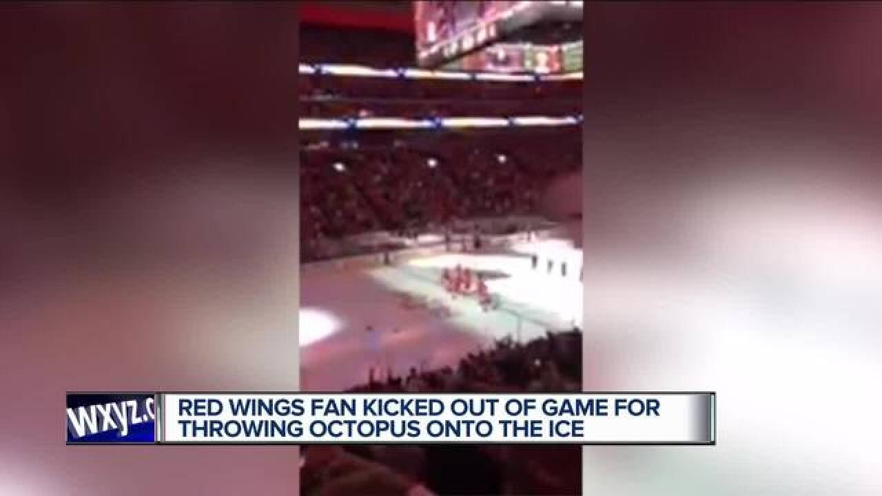 Man kicked out of Detroit Red Wings game for throwing octopus onto ice