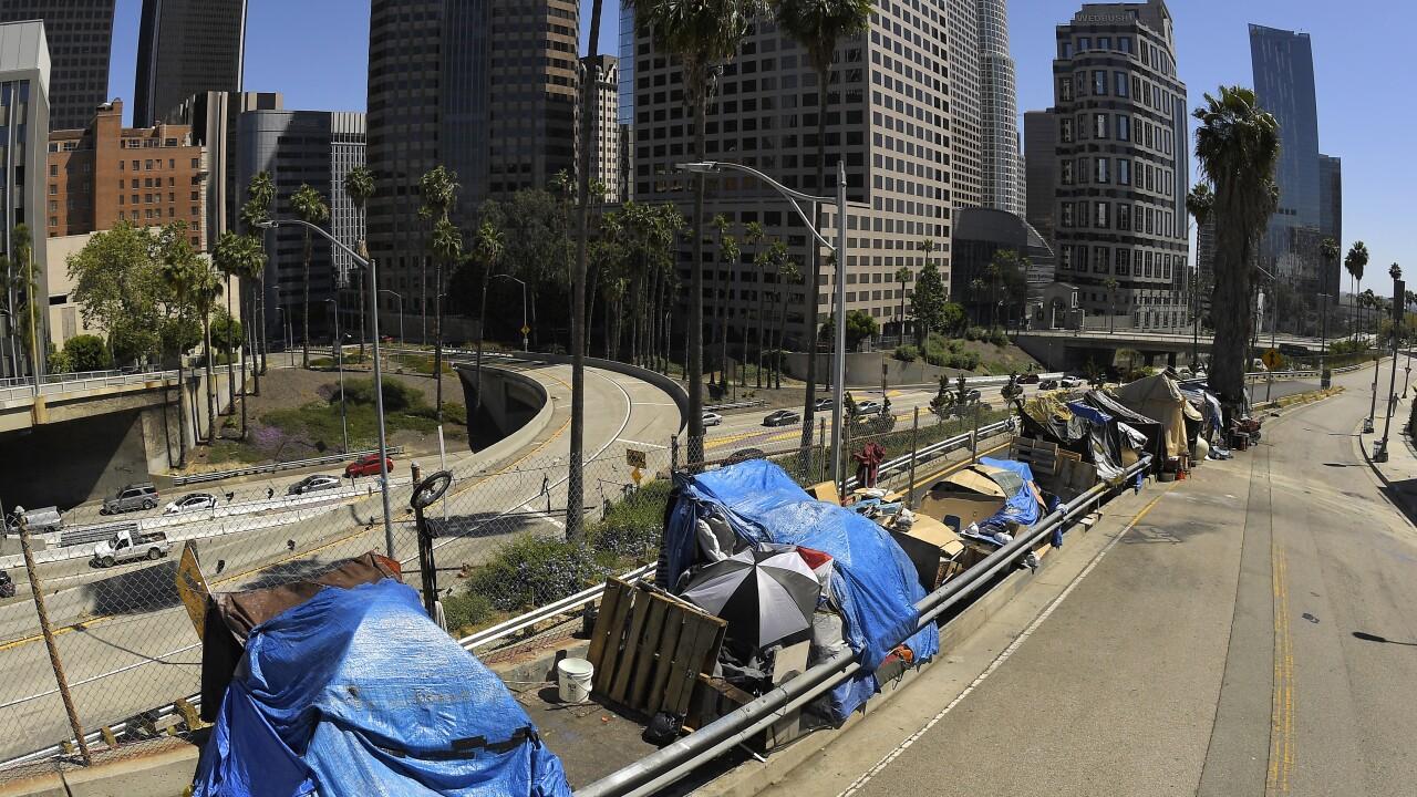 Virus Outbreak Los Angeles Homeless