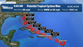 Potential Tropical Cyclone Nine 5 a.m. July 29 track.png