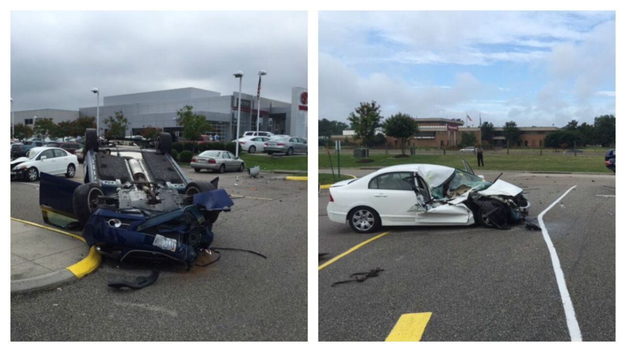 Driver injured after airborne car crashes into newly tradedsedan