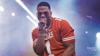 "This Oct. 6, 2018 file photo shows Nelly performing at the Austin City Limits Music Festival in Austin, Texas. Nelly will perform in Maryland Heights, Mo., near St. Louis, as part of Live Nation's ""Live from the Drive-In concert series taking place July 10-12. (Photo by Jack Plunkett/Invision/AP, File)"