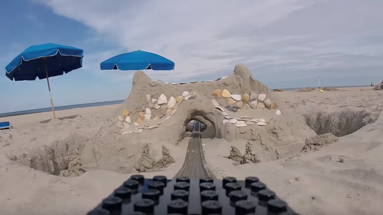 Take a LEGO roller coaster journey on an OBX beach!
