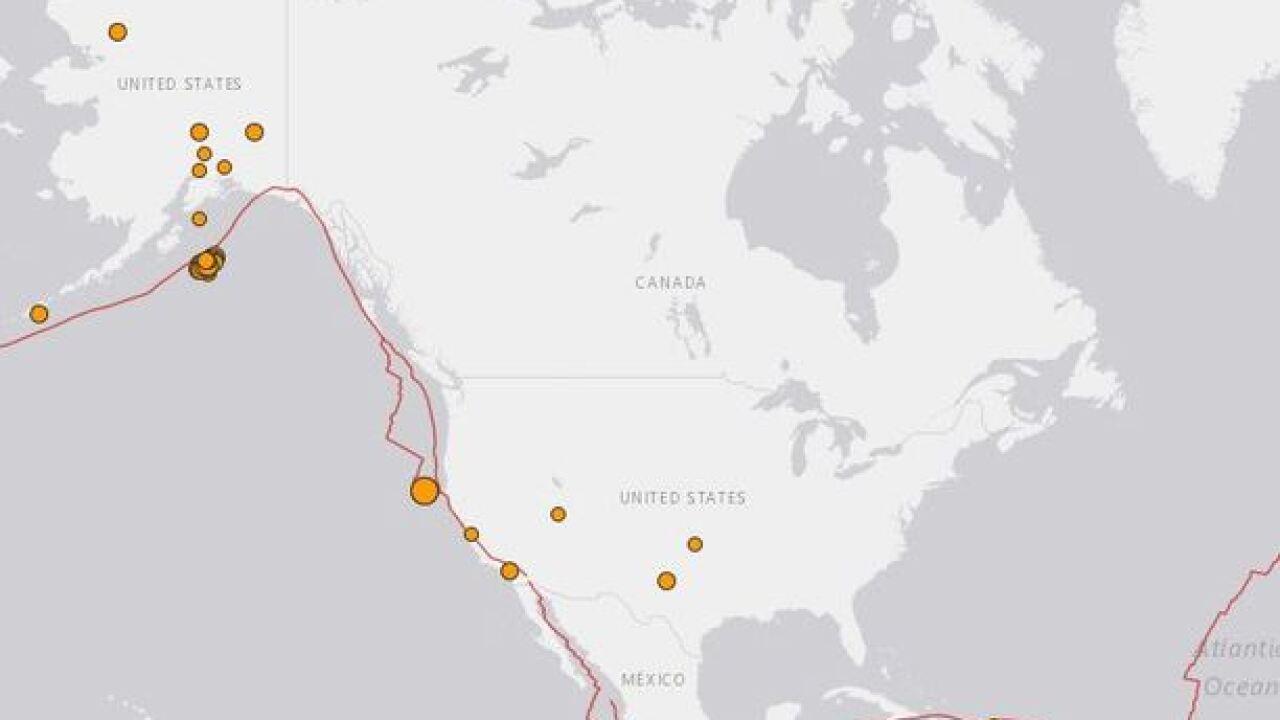 Earthquakes shake Alaska and California