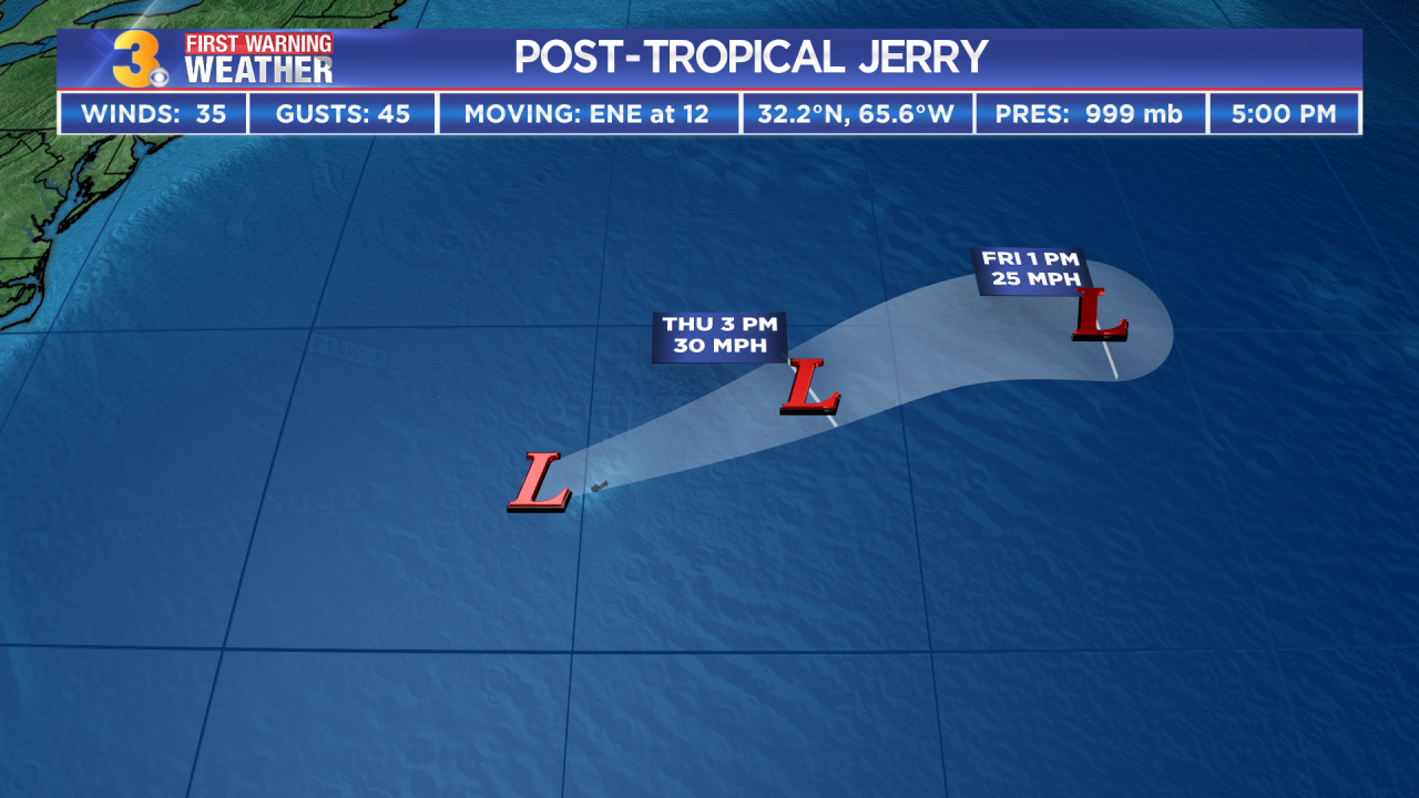Tropical Storm Jerry weakens to post-tropical cyclone as it moves north