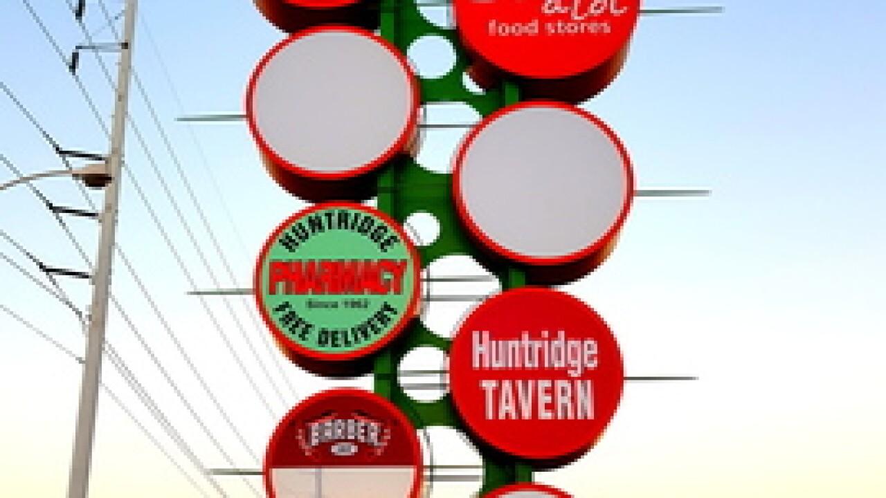 Sign lighting at Huntridge Shopping Center