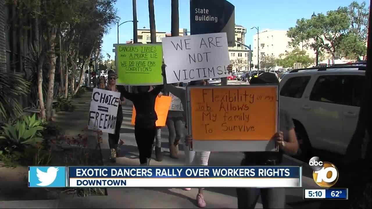 Exotic dancers rally against local lawmaker over workers' rights