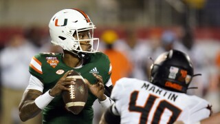 Miami Hurricanes QB N'Kosi Perry vs. Oklahoma State Cowboys in 2020 Cheez-It Bowl
