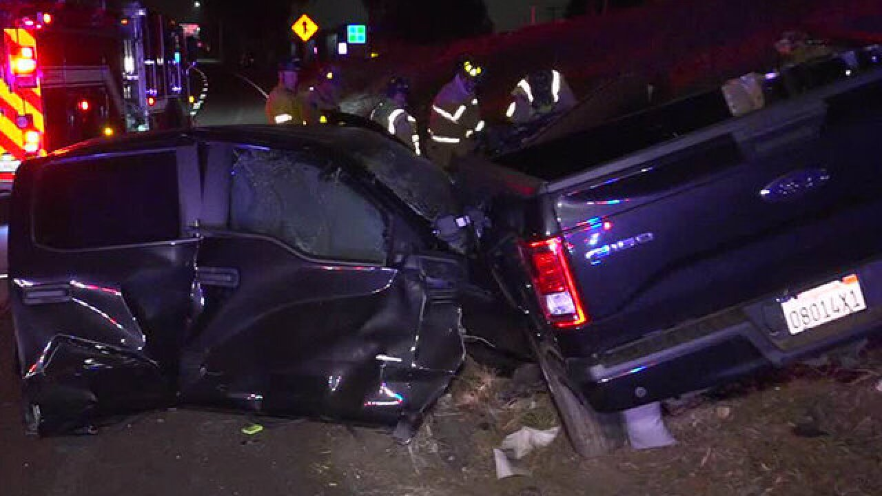 Truck split in two in violent wreck on I-5