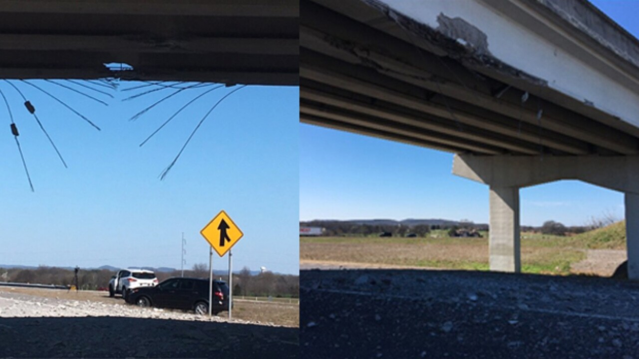Driver Hits I-840 Overpass, Damages Bridge