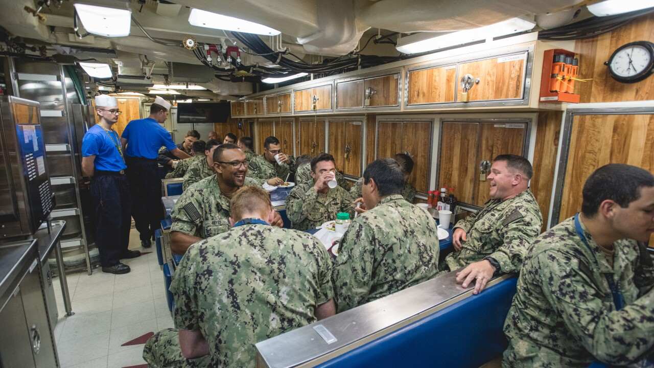 Crew eats first meal aboard Huntington Ingalls Industries' newest submarine