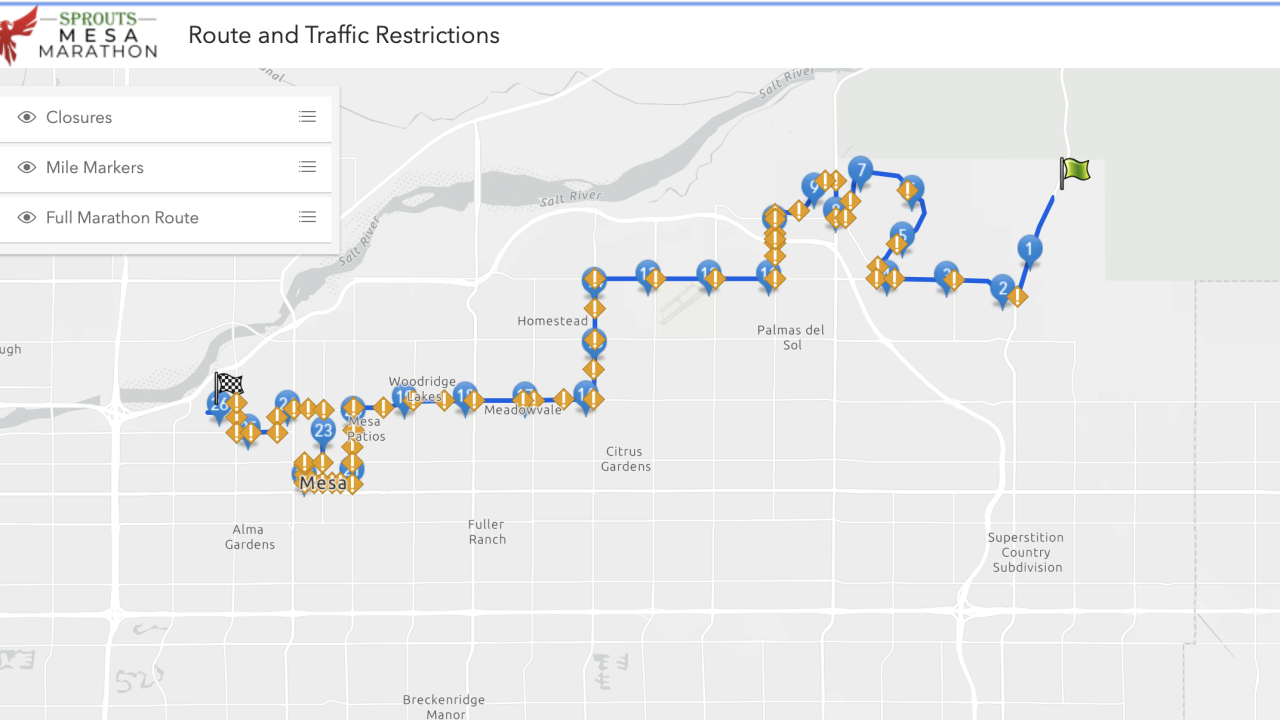 Mesa marathon route