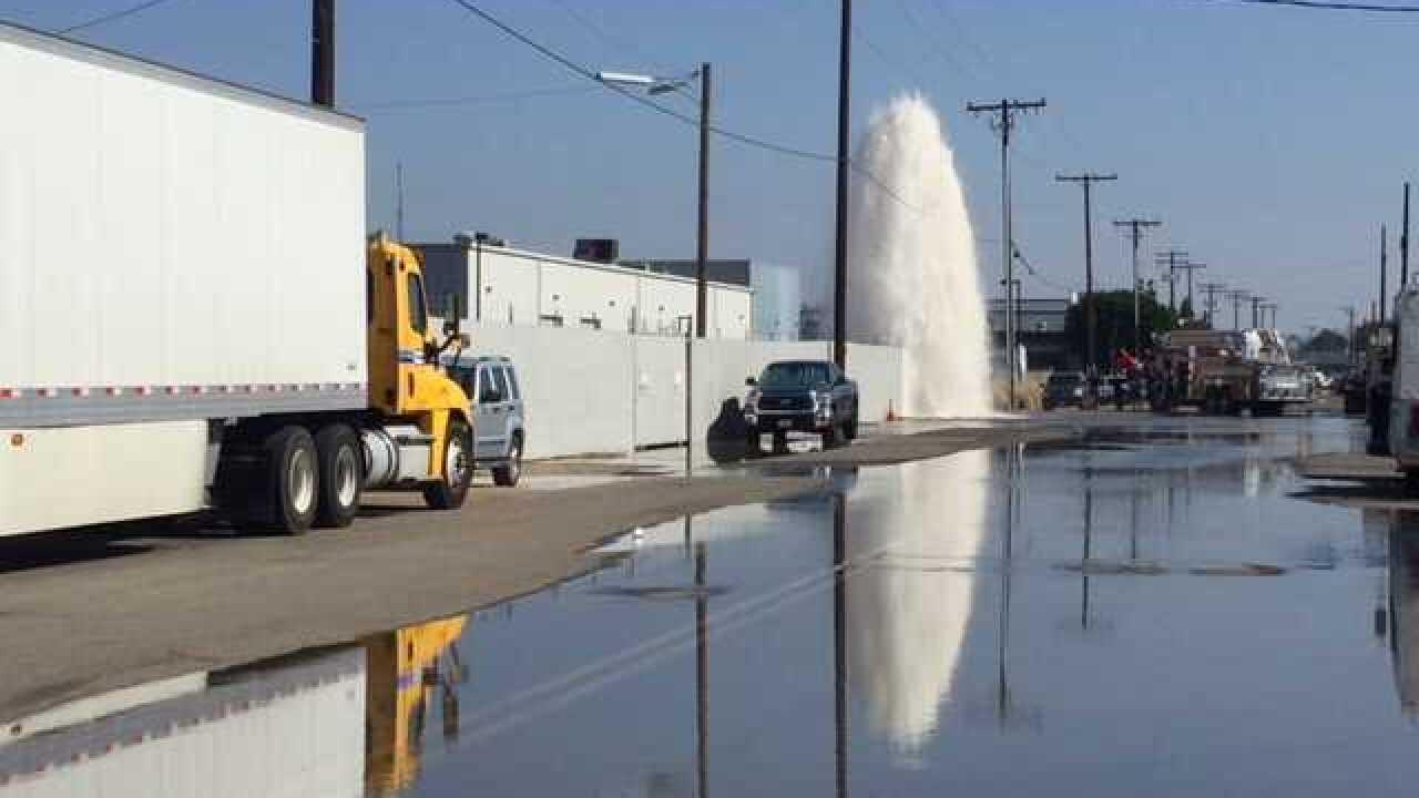 Big rig slams into hydrant