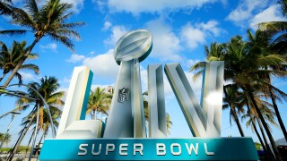 Signage is displayed near the FOX Sports South Beach studio compound prior to Super Bowl LIV on January 25, 2020 in Miami Beach, Florida. The San Francisco 49ers will face the Kansas City Chiefs in the 54th playing of the Super Bowl, Sunday February 2nd.