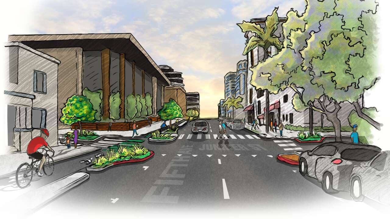 Fourth and Fifth Avenue Bikeways Rendering - Fifth & Juniper - North View.jpg