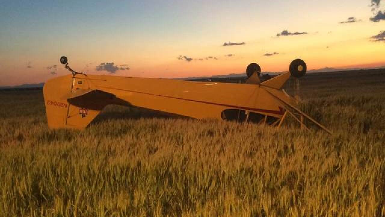 Plane flips during emergency wheat field landing