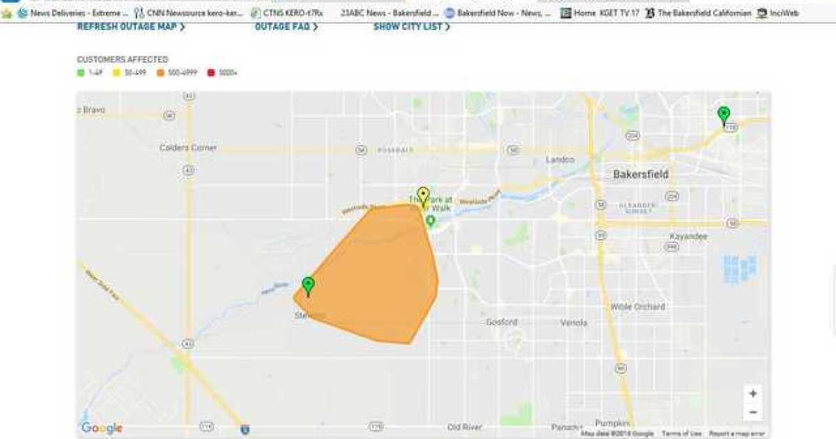 Power outage affecting over 3 000 in southwest Bakersfield