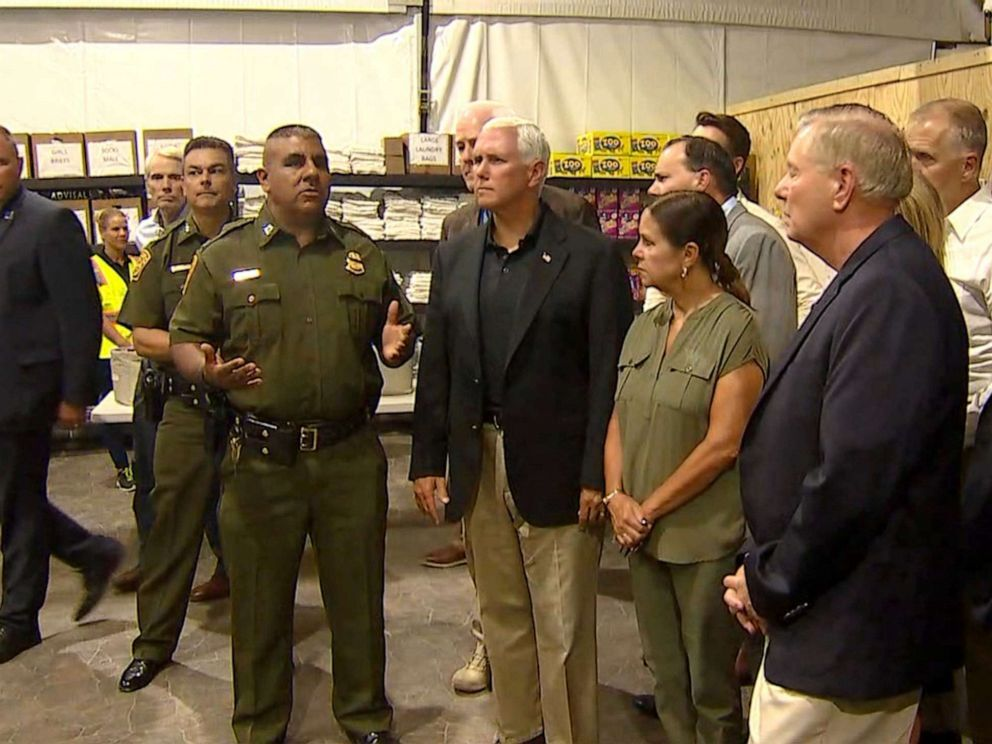 Vice President Mike Pence surveys the holding facility in Donna, Texas, July 12, 2019. (Pool/ABC News)