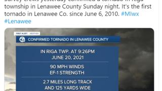 Confirmed EF-1 tornado in Lenawee Co. Sunday night