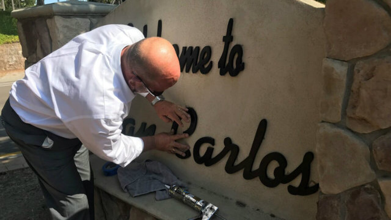 Councilman fixes San Carlos welcome sign himself