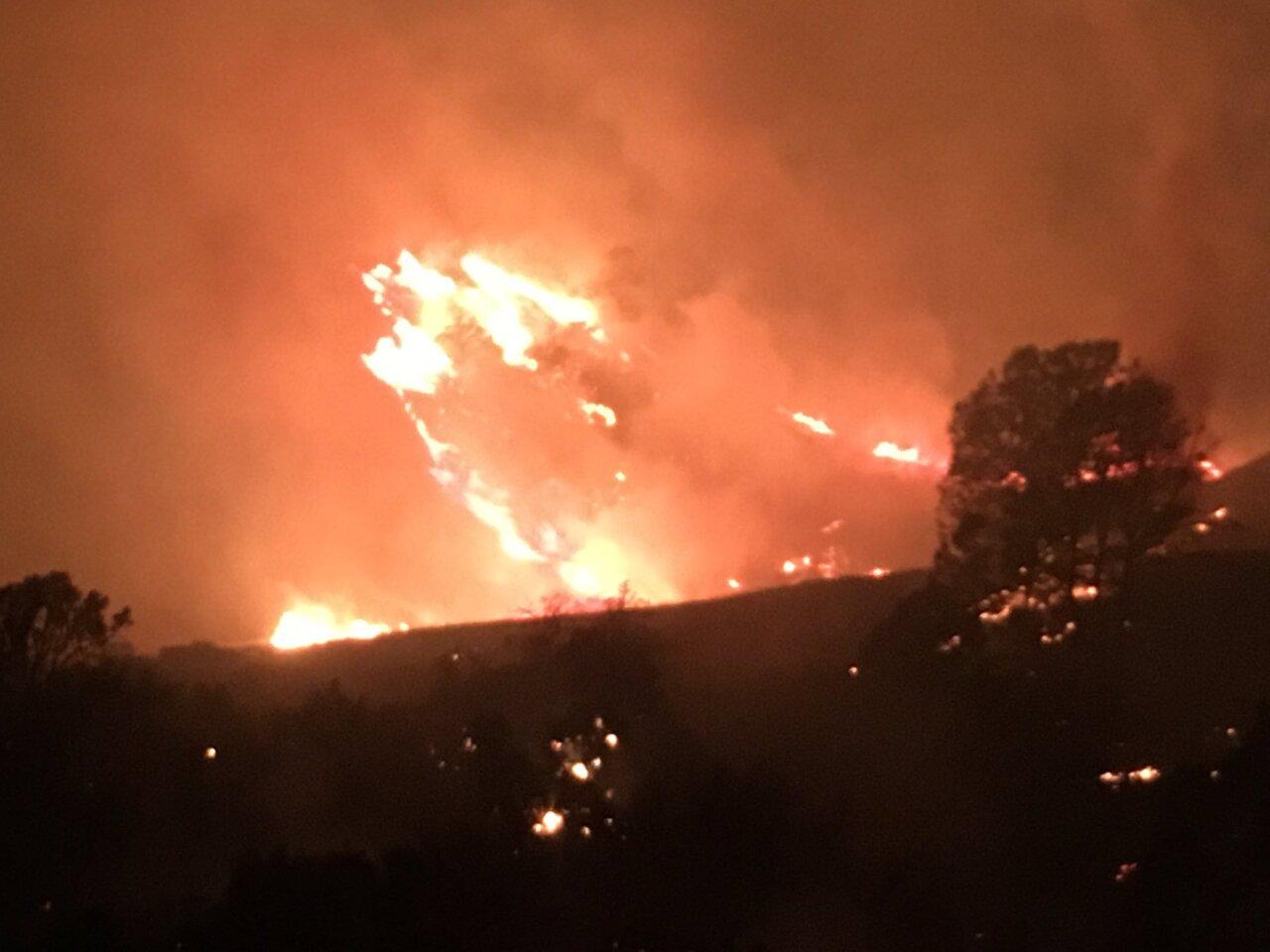 Range Fire Sunday night in Santa Ynez Valley. Photo Courtesy: Santa Barbara County Fire Department