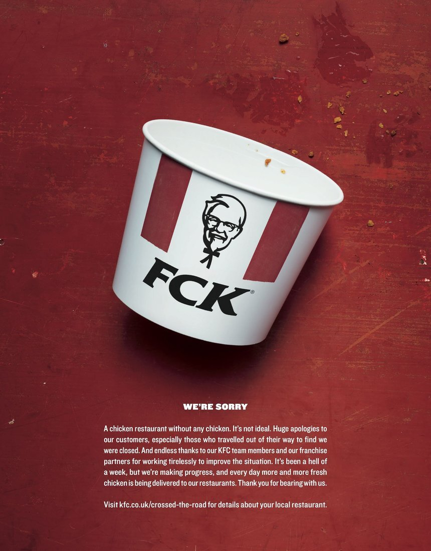 When KFC ran out of chicken, this ad was created by advertising agency Mother London. The company confirmed Massimine has since falsely taken credit for the ad.