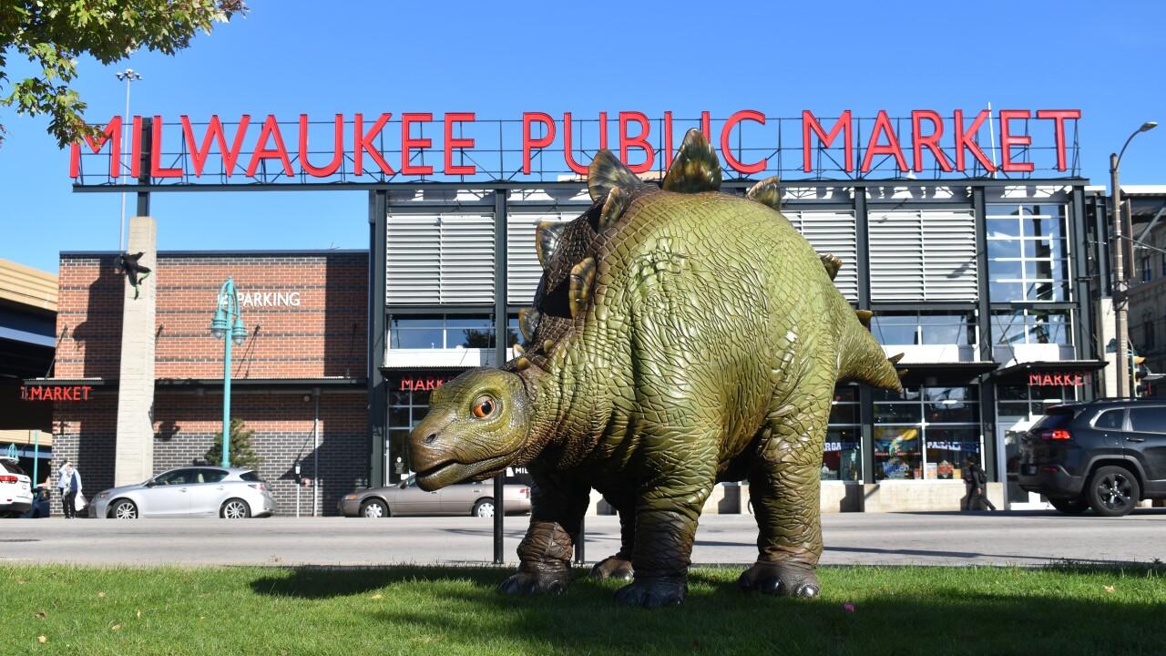 Jurassic dinosaur in front of Public Market in Milwaukee