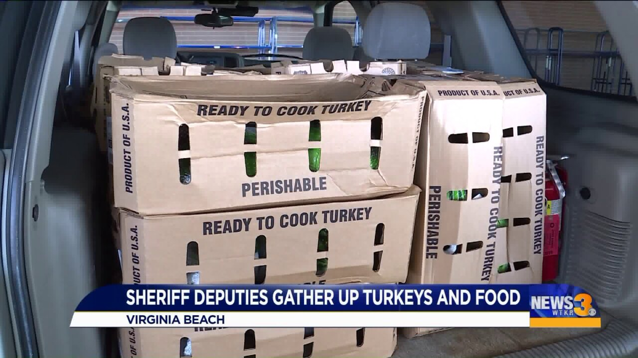 Turkeys get rounded up by Norfolk Sheriff's deputies to go to needyfamilies