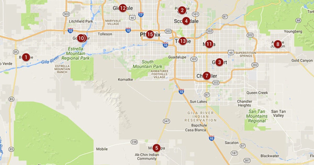 Map Of Phoenix Arizona Area.Safest Cities In Phoenix Metro See Which Have Lowest Crime Rates