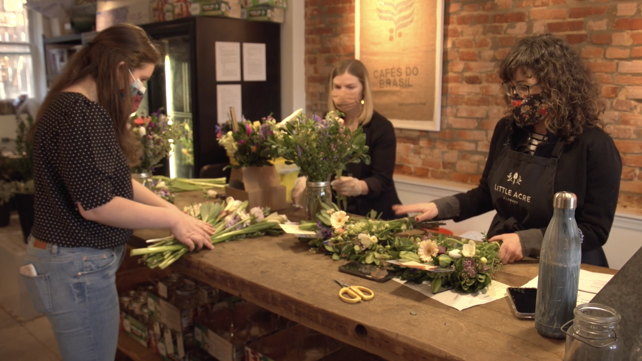 At Little Acre Flowers in Washington, D.C., the initial uncertainty of the pandemic and its economic impact caused owner Tobie Whitman (right), to move her small business into an all-delivery service.