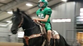 Belgrade's Lane Smart supports Panther football team at 4-H horsemanship competition