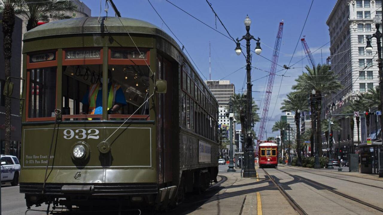 A streetcar on the St. Charles line travels down Canal Street in New Orleans, La. Friday, Aug. 28, 2020. (Photo by Max Becherer, NOLA.com, The Times-Picayune   The New Orleans Advocate)