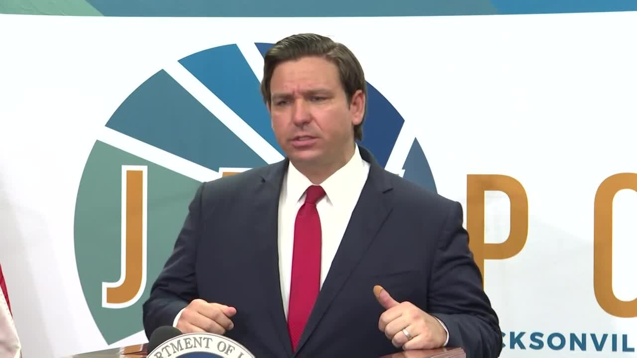 Gov. Ron DeSantis speaks in Jacksonville, July 9, 2020