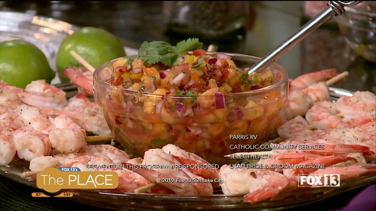 Easy Grilled Shrimp with Fresh Peach Salsa