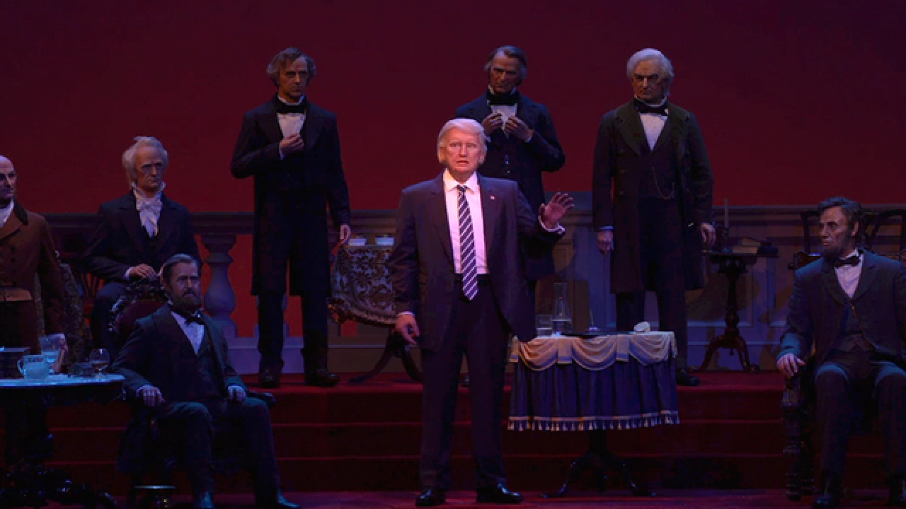 Donald Trump takes place among Disney World's Hall of Presidents