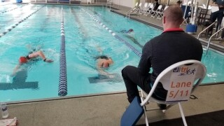 Jewish Community Center annual indoor Triathlon for all athletes underway